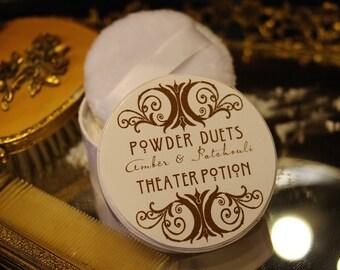 natural Dusting Powder,  Bath Powder, perfumed Body Powder,  after bath Powder Puff by Theater POtion