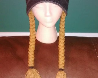 ADULT VIKING HAT - dark grey hat with blonde detachable braids - Adult onesize
