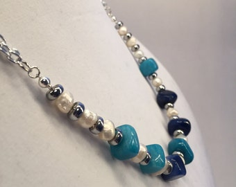 Blue Stones and Irregular Pearls Necklace