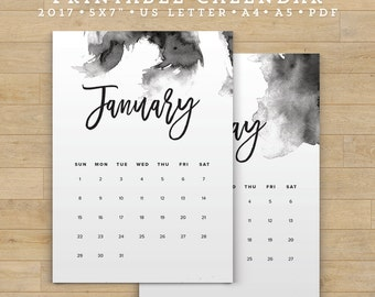 Printable Calendar 2017, Modern Watercolor Calendar Planner 2017 PDF, A4 UsLetter A5 Calendar Printable Wall Calendar, Instant Download