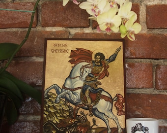 Saint George slaying the Dragon, Byzantine icon, Orthodox icon, Christian icon, Gift icon, Religious, Hand painted icon