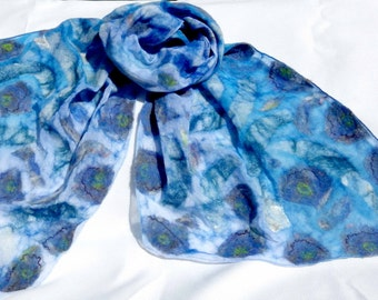 Rocky Surf Nuno felted Scarf, Silk  Merino felted scarf, Blue White, gift for her, Soft shiny, Women scarf, special occasion, Lightweight