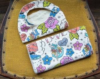 Baby Girl Bib and Burp Cloth Set