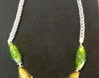 Chunky Green and Gold Necklace