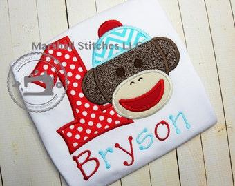Boys Sock Monkey Birthday Shirt 1-9!/ Sock Monkey Birthday Shirt/ Sock Monkey Shirt/ Sock Monkey Family Birthday Shirts