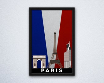 Paris Skyline Poster ft. the Arc de Triomphe, the Eiffel Tower, and Tour First in the French / France Flag colors
