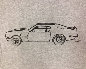 Pontiac Trans Am Tee Shirt- Pontiac Trans Am Gift- Pontiac Gift- Classic Car- Muscle Car- Hand Drawn Screen Print- Size Large