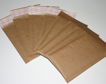 25 Eco Friendly Size #000 4x8 Extra Lightweight Brown Kraft Bubble Mailers Self Sealing Padded Envelopes