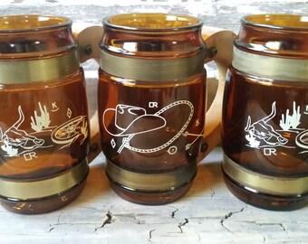 Amber glass mugs vintage, Siesta Ware mug set, vintage barrel mugs, Western mugs