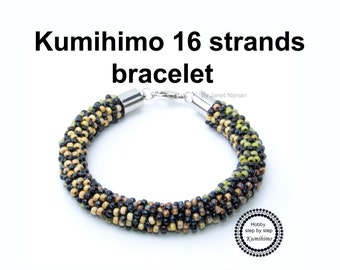 Kumihimo pattern tutorial flower bracelet (neckless)  16 strands