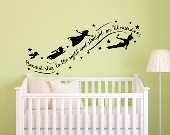 Peter Pan Wall Decal Quote  Wall Decals Nursery  Second Star To The Right  Peter Part 42