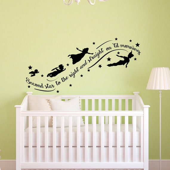 peter pan wall decal quote wall decals nursery second star. Black Bedroom Furniture Sets. Home Design Ideas