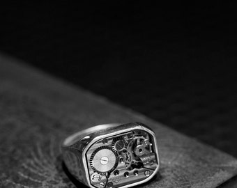 Industrial Signet Ring - 'MARK II' - Sterling Silver 925, Chunky Signet Ring, Russian, Swiss, Mechanism Ring, Statement Ring, Men, Unisex