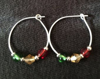 Hoop Earrings with Red, green, and champagne beads