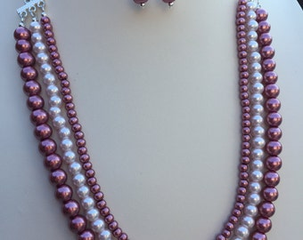 Dusty Rose Pearl Necklace