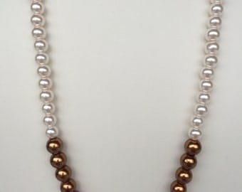 Cream and Antique Bronze Glass Pearl Necklace