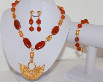 Pre-Colombian gold plated set with carnelian natural semi precious stone.