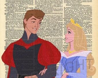 Sleeping Beauty and Prince Phillip Dictionary Art Print