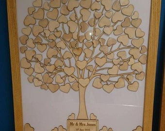Guest book tree for weddings, birthdays etc in a solid wood frame - ash, oak