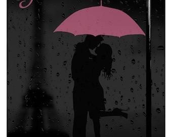 Paris Print, Paris Illustration, Art Deco, Wall Art, Poster Print, Paris Decor, Pink Paris, Love, Couple in the Rain in Paris, Eiffel Tower