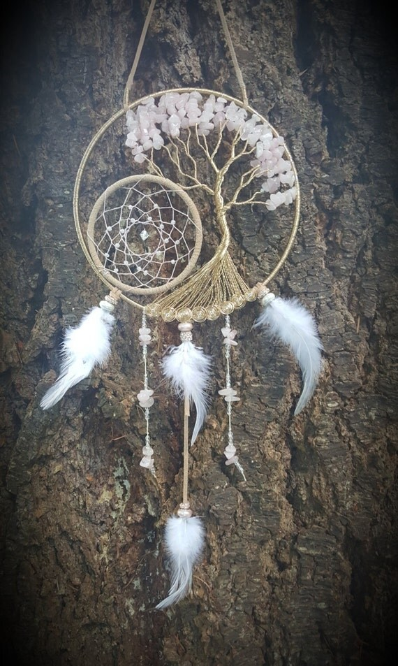 Rose Quartz Tree Of Life Dream Catcher Suncatcher Wall Hanging