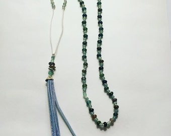 Hand Knotted Beaded Tassel Necklace