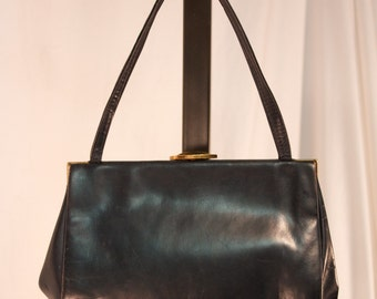 Vintage Navy Leather Purse with Gold Clasp