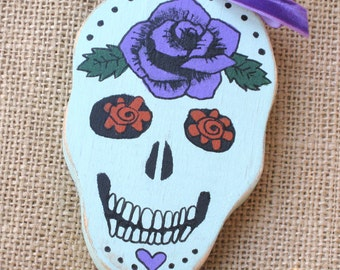 Wooden Ornament, Wood Ornament, Sugar Skull Ornament, Dia De Los Muertos, Day of the Dead, Skull with Flowers, Mexican Skull Ornament