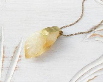Natürliche Citrin Halskette, Edelstein Halskette, Antik Messingkette, Messing Verschluss, November Birthstone Halskette / Boho Anhänger