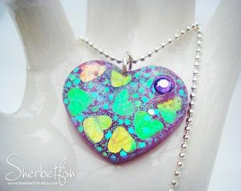 Purple heart necklace, purple necklace, resin necklace, handmade necklace, handmade jewellery