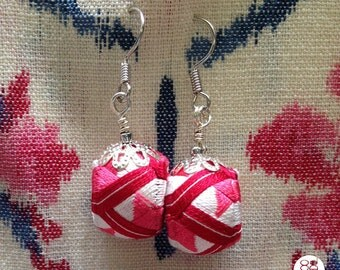 pink flowers   unique handmade red & pink colour earrings made with Japanese silk thread