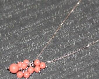 Coral Swarvorski Pearl Necklace