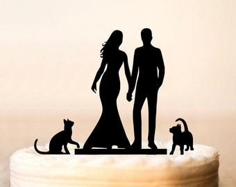 Wedding cake topper with cat,silhouette cake topper with two cats,cats cake topper,unqiue cake topper for wedding,modern cake topper (0119)