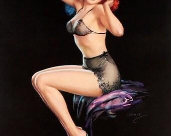 "Vintage Original 1962 Pin-Up Calendar With Risqué Lingerie Clad Redhead ""Setting Up Exercises"" by Jules Erbit Salesman's Sample"