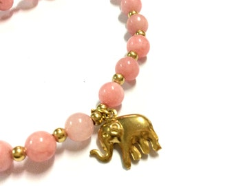 Genuine Morganite with Brass Elephant Yoga Mala Bracelet - Natural Spirited Stones Bracelet - Healing Bracelet - Stretch Bracelet