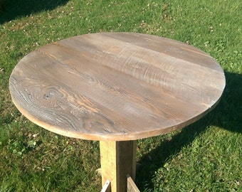 "Reclaimed barn wood table top 32"" round"