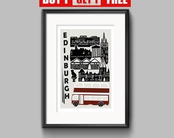 Edinburgh  Print, Edinburgh Art. Scotland, Edinburgh Castle, Modern Art Print