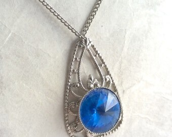 Blue acrylic pendant and silver filigree gypsy pendant necklace