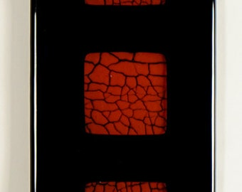Panel 3, fused glass, crackle glass insert, wall panel 4 1/4 x 16 1/2 inches