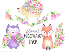 Floral Woodland Watercolor Clipart - Hand painted printables - DIY greeting cards, Scrapbook, Digital Children's Clip Art, Nursery