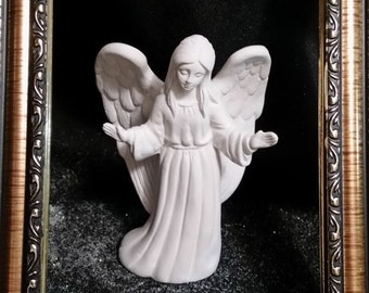 Angel with outstretched arms - Unpainted Ceramic Bisque