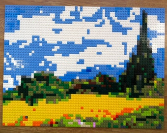 """LEGO painting/mosaic of van Gogh's """"Wheat Field with Cypresses"""""""