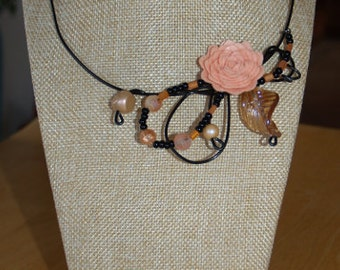 Peach flower necklace, black wire