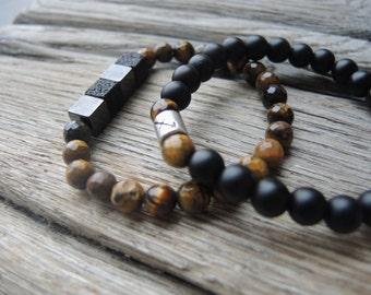 Onyx bracelet with your zodiac symbol,