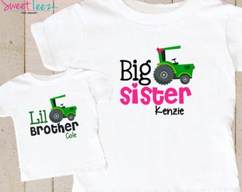 Green Tractor Shirt SET Big Sister Little Brother Shirt Set Personalized Shirts Baby bodysuit SET