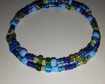 Blue and Green Beaded Wrap Bracelet