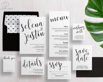 Wedding Invitation Suite Calligraphy / Black and White / Invitation Set / Save the Date / Custom / Selena Suite