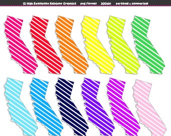 CALIFORNIA State Clip Art - 12 Rainbow Bright STRIPES Graphic Set - Personal and Commerical - Instant Download