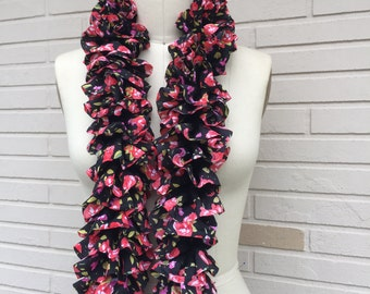 Floral Print Ruffled Scarf