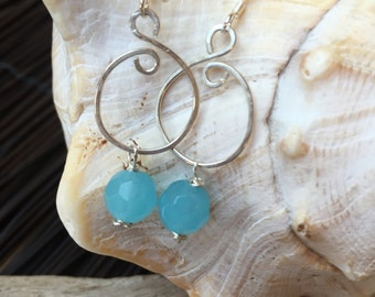 Sea Blue Crystal Swirl Sterling Silver Earrings